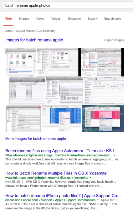 "Fig 1: If a user wants to know how to batch-rename photos in the Apple ""Photos"" application, they will have to generate a very creative search query. None of the top results for the obvious query ""batch rename Apple photos"" were relevant."