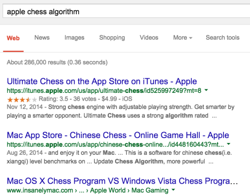 Fig 3: Want to know what algorithm is used by the Apple Chess program? Too bad! But maybe you'd like these unrelated links.